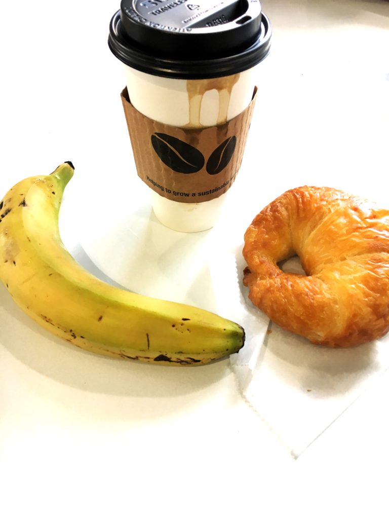 No Fear iIn Food! A delicious start to the day! Coconut milk latte, a freshly baked butter croissant, and banana.